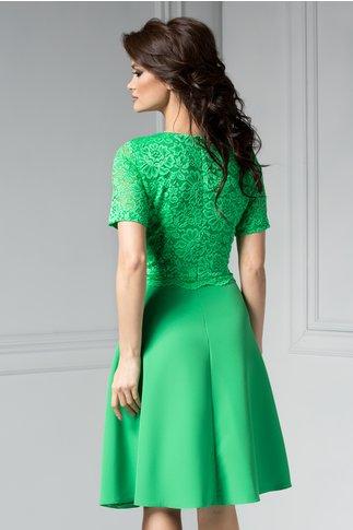 Rochie Marga verde in clos de ocazie cu dantela