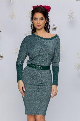 Rochie Marge asimetrica din jerse cu lurex verde cu maneci lungi