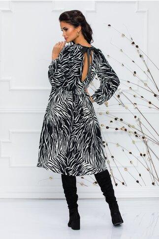 Rochie Margo cu imprimeu zebra alb-negru