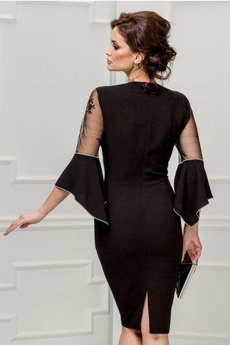 Rochie Margo neagra de ocazie cu perle la bust
