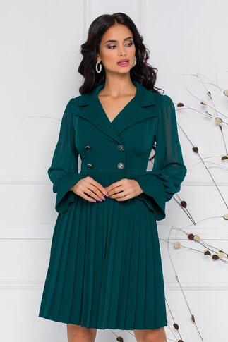 Rochie Margot verde cu pliuri pe fusta