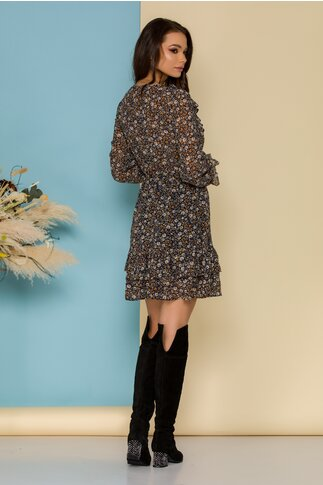 Rochie Margy neagra cu imprimeu floral