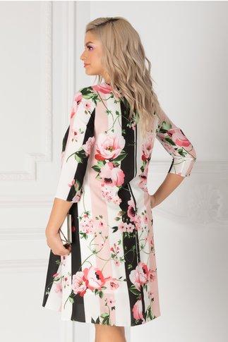 Rochie Mari cu dungi si trandafiri roz