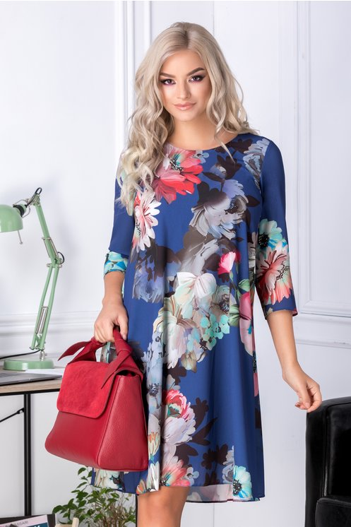 Rochie Mari evazata albastra cu imprimeu floral