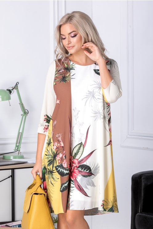 Rochie Mari evazata cu maro si galben si imprimeu floral