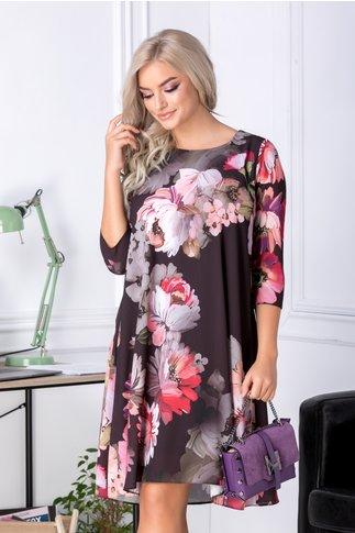 Rochie Mari evazata neagra cu flori mari roz