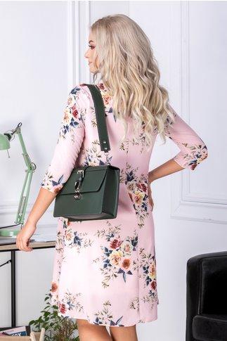 Rochie Mari evazata roz cu imprimeu floral