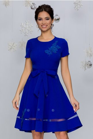 Rochie Maria albastra cu aplicatii din broderie florala si maneci scurte