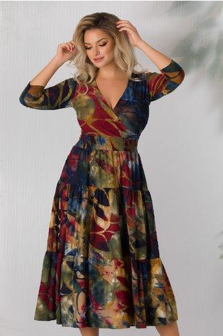 Rochie Maria multicolora cu elastic in talie
