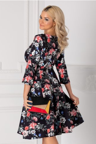 Rochie Maria neagra cu imprimeu floral