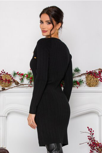 Rochie Maria neagra din tricot reiat cu nasturi decorativi