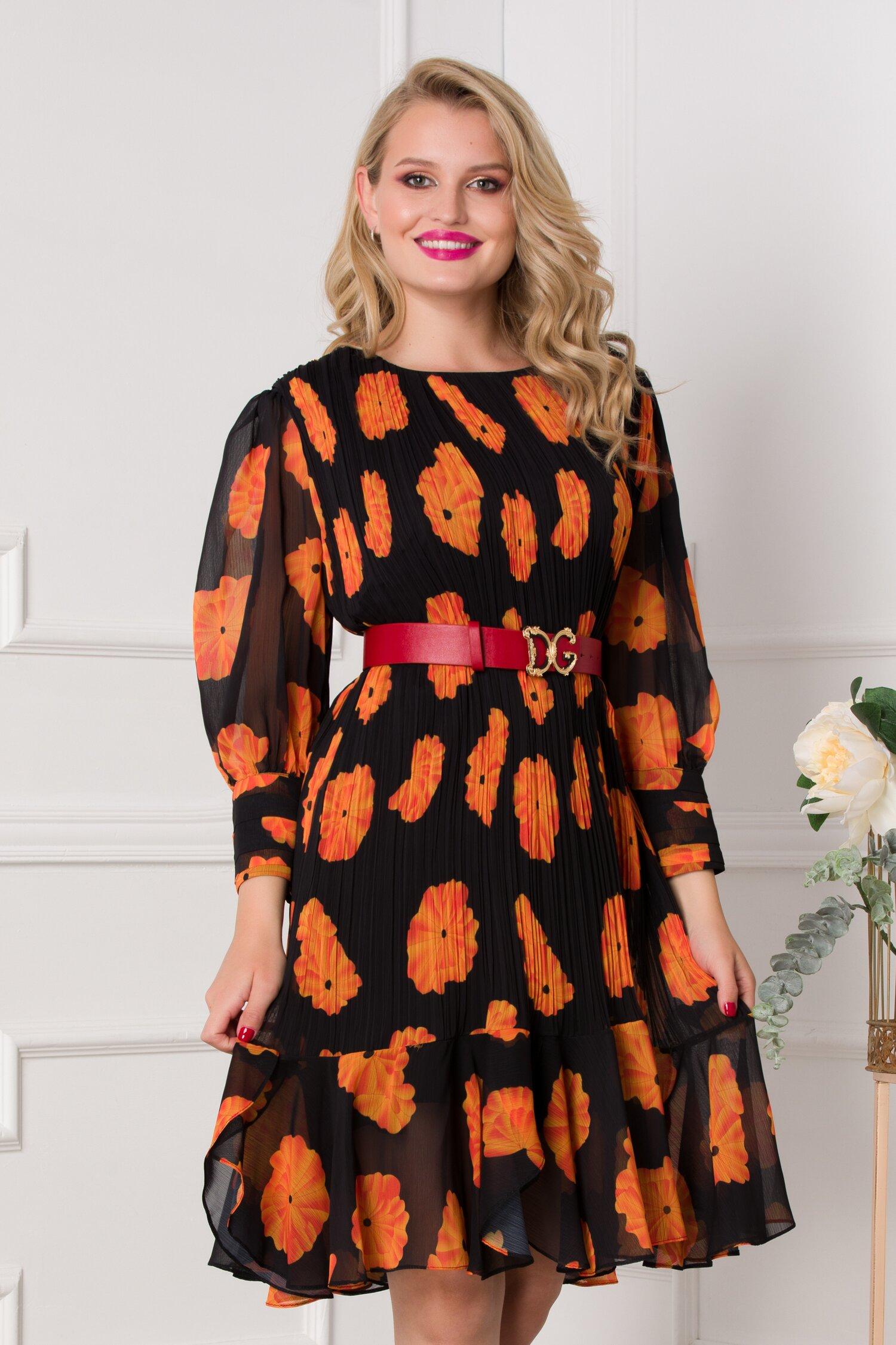 Rochie Maria plisata neagra cu imprimeu floral orange