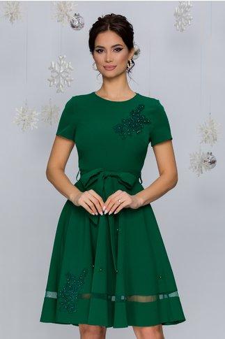 Rochie Maria verde cu aplicatii din broderie florala si maneci scurte