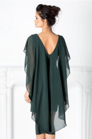 Rochie Maria verde cu voal tip capa