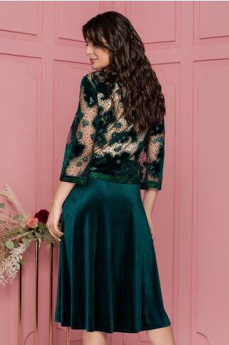 Rochie Maria verde din catifea cu aplicatii glitter