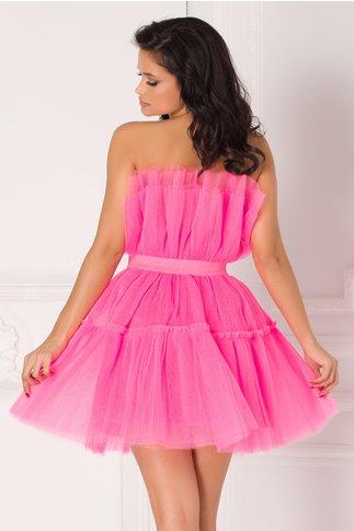 Rochie Maribell roz neon din tull