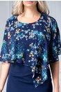 Rochie Mariela bleumarin cu voal cu motive florale bleu-crem