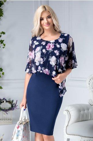 Rochie Mariela bleumarin cu voal cu motive florale gri-lila