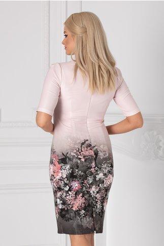 Rochie Mariela roz pal cu imprimeu floral in degrade