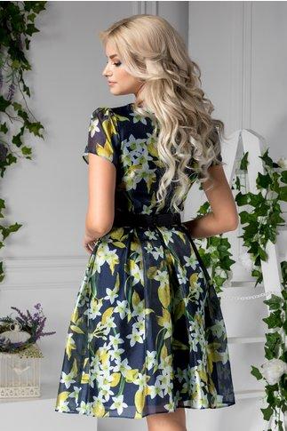 Rochie Marilu bleumarin cu imprimeu floral galben