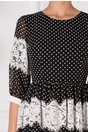 Rochie Marilu neagra cu buline si insertii din dantela florala