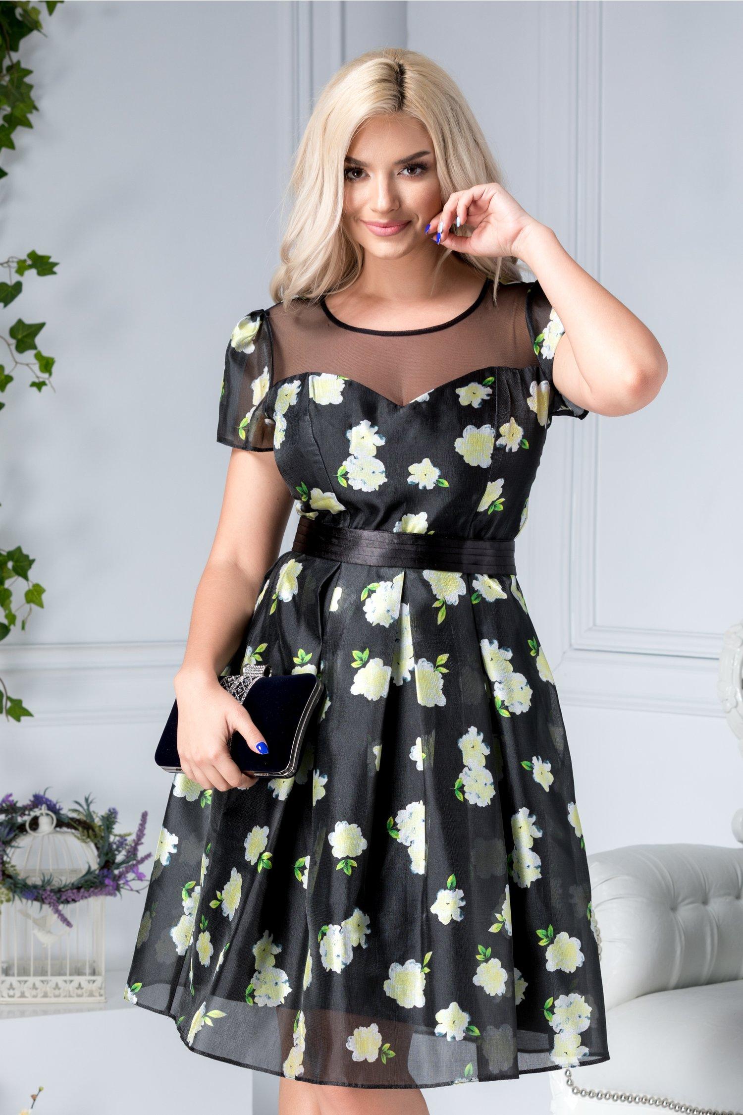 Rochie Marilu neagra cu flori galbene