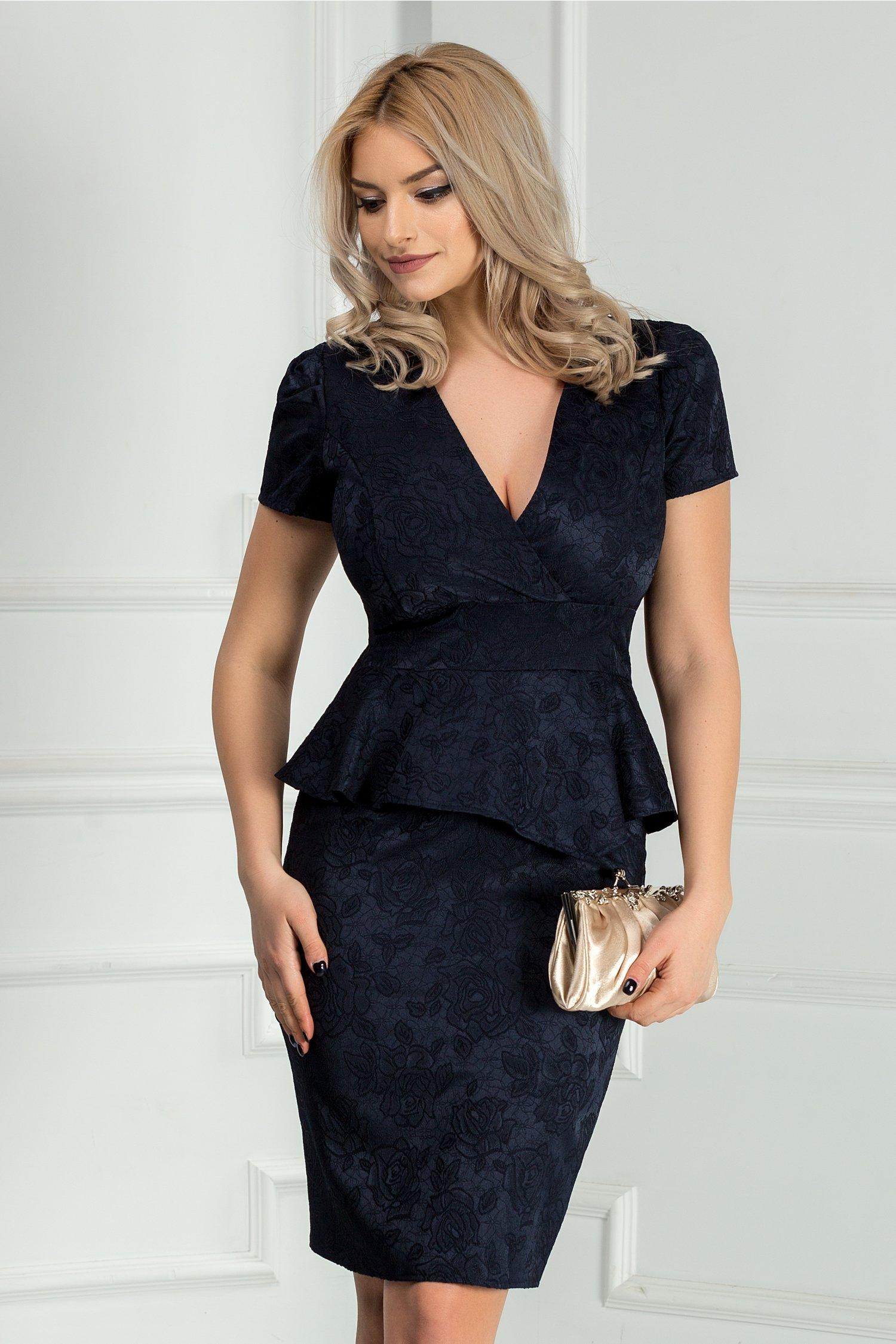 Rochie Marina bleumarin din brocard cu peplum