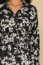 Rochie Marina neagra cu imprimeuri florale albe si cordon in talie