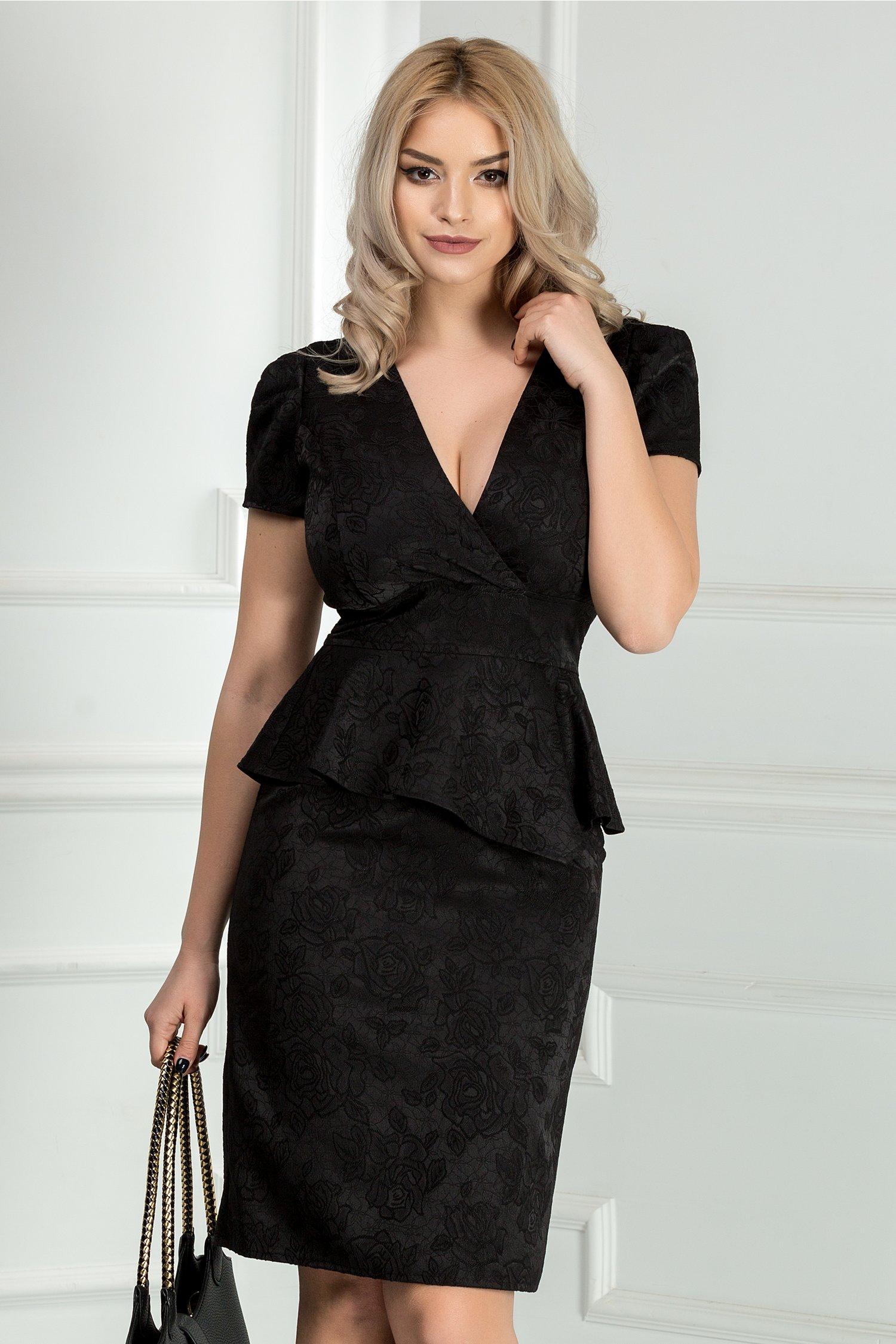 Rochie Marina neagra din brocard cu peplum