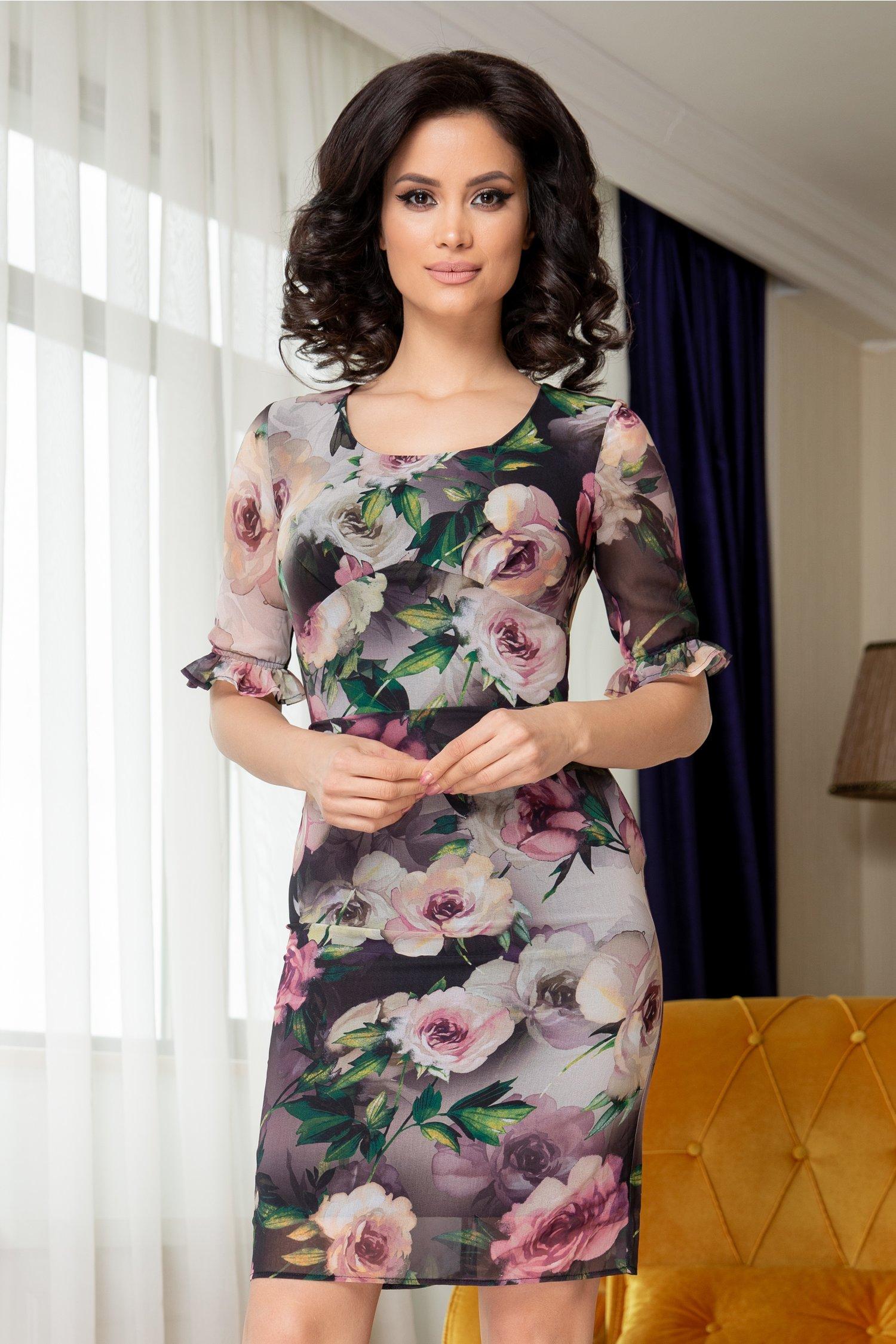 Rochie Marina negru cu gri in degrade si imprimeu floral