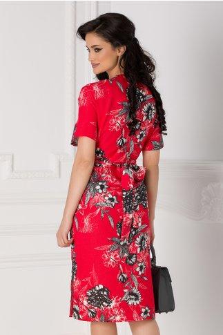 Rochie Marina rosie cu imprimeu floral si lurex