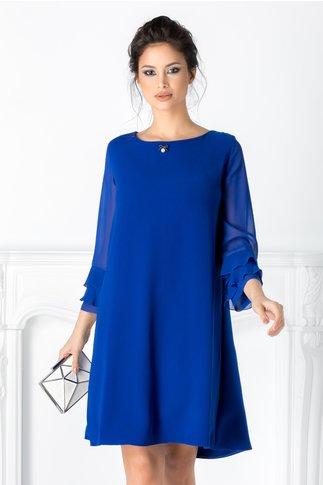Rochie Marisa albastra cu maneci din voal