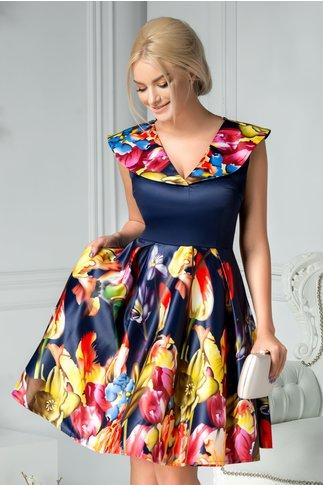 Rochie Marisa bleumarin clos cu imprimeu colorat