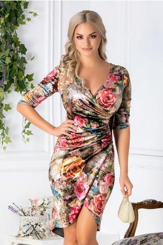 Rochie Marisa din catifea cu imprimeu colorat