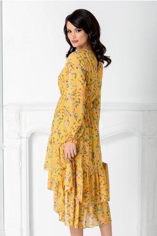 Rochie Marisa galbena cu imprimeu floral