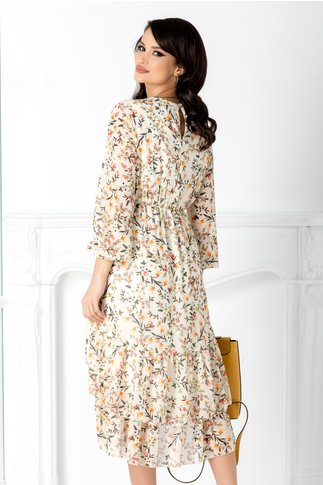 Rochie Marisa ivoire cu imprimeu floral