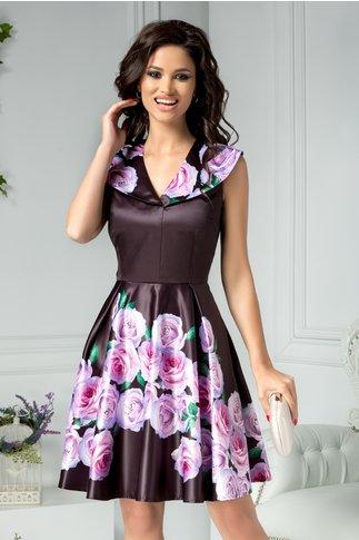 Rochie Marisa neagra clos cu imprimeu floral violet
