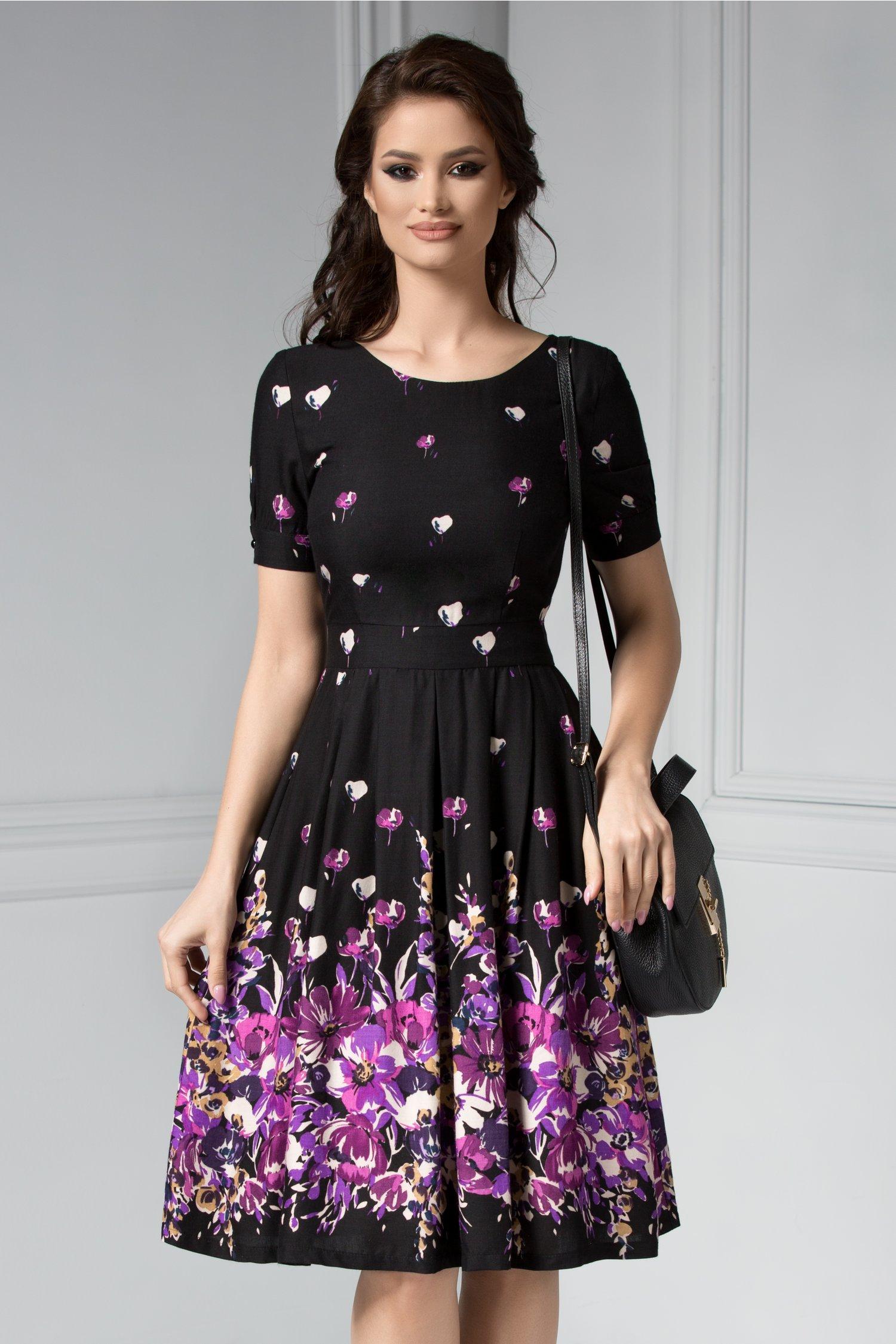 Rochie Marisa neagra cu imprimeu floral lila