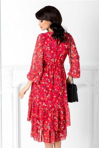 Rochie Marisa rosie cu imprimeu floral