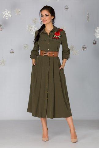 Rochie Marisa tip camasa kaki cu broderie florala si curea in talie