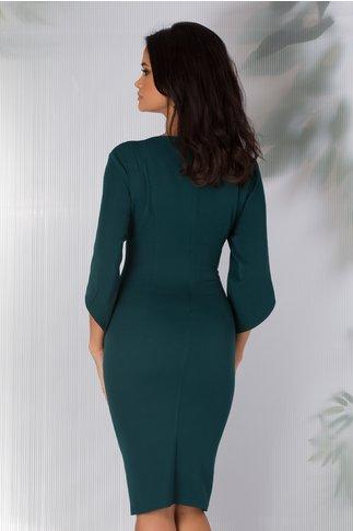 Rochie Marisa verde cu aplicatii la decolteu