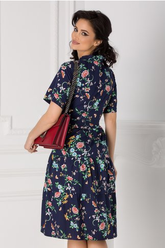 Rochie Marissa clos bleumarin cu decolteu petrcut si imprimeuri florale