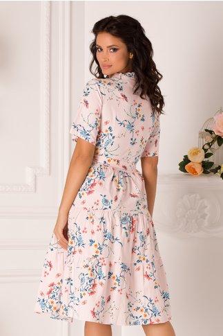 Rochie Marissa clos roz cu decolteu petrecut si imprimeuri florale