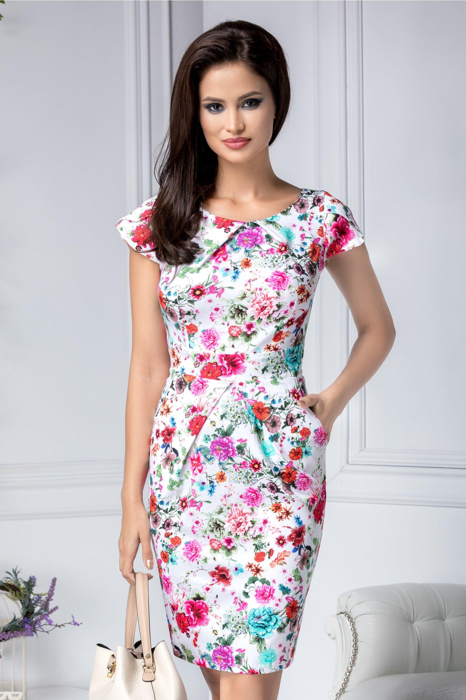 Rochie Marlen alba de zi cu flori colorate si buzunare