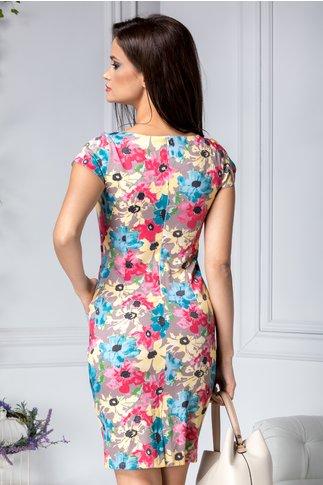 Rochie Marlen crem cu flori mari colorate