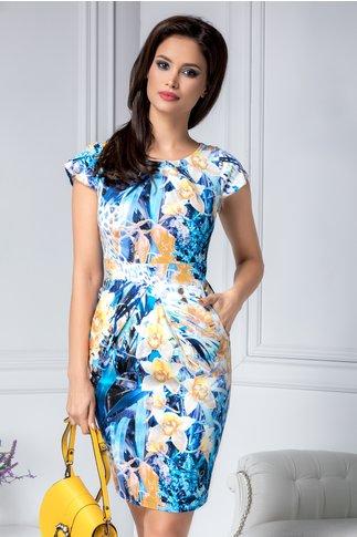 Rochie Marlen de zi albastra cu imprimeu galben
