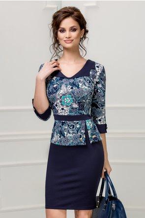 Rochie Marlo bleumarin cu imprimeu floral albastru