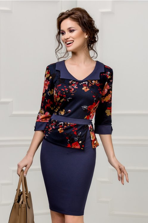 Rochie Marlo bleumarin cu imprimeu floral kaki