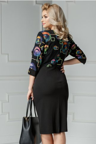 Rochie Marlo neagra cu imprimeu colorat