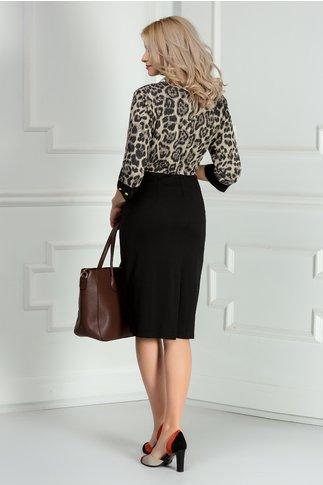 Rochie Marlo neagra cu print maro